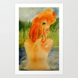 The woman of the Lake Art Print