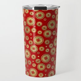Chinese Coin Pattern Gold on Red Travel Mug