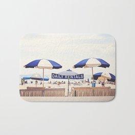 Beach Umbrella Photography, Blue White Brown Coastal Art, Beach Summer Photograph, Seashore Print Bath Mat