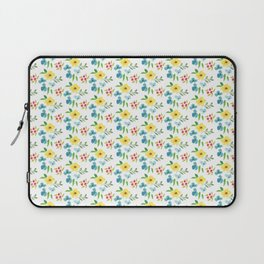 Hand painted pink yellow teal watercolor flowers Laptop Sleeve