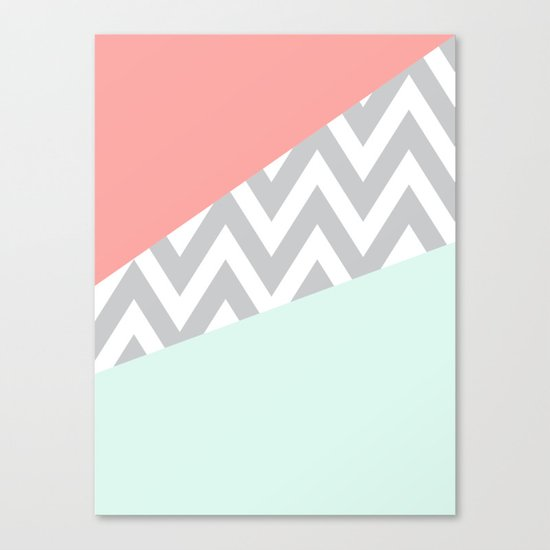 Original Mint & Coral Chevron Block Canvas Print