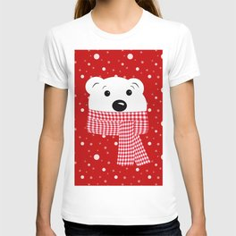 Muzzle of a polar bear on a red background. T-shirt