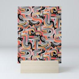 Geo Cats Maze in Sunset Colors plus Grey Mini Art Print