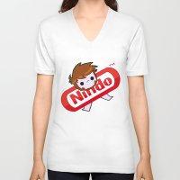 plain V-neck T-shirts featuring NINDO-plain by DarkDarren