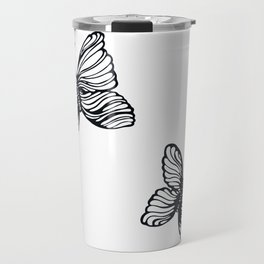 black and white butterfly drawing Travel Mug