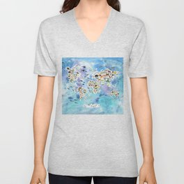 Cartoon animal world map, back to school. Animals from all over the world, blue watercolour watercolor Unisex V-Neck