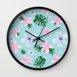 Peaceful / tropical / flowers / leaves Wall Clock
