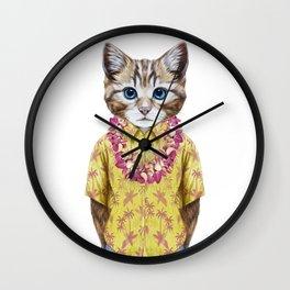 Portrait of Cat in summer shirt with Hawaiian Lei. Wall Clock