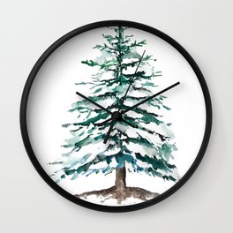 pine tree covering with snow Wall Clock