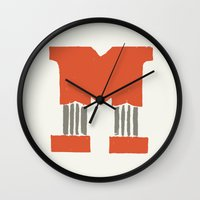 lettering Wall Clocks featuring M Lettering by Mallory Ming
