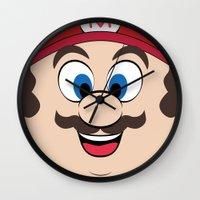super mario Wall Clocks featuring Super Mario by Shakeel