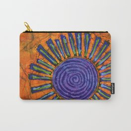 Orange and purple Floral batik Carry-All Pouch