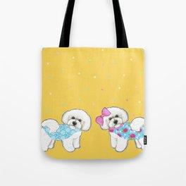 Bichon Frise Holidays yellow cute dogs, Christmas gift, holiday gift, birthday gift, dog, Bijon Tote Bag