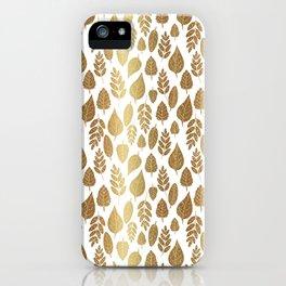 Gold Autumn Leaf Pattern iPhone Case