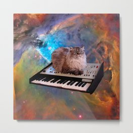 Cat on a Keyboard in Space                                                       Metal Print
