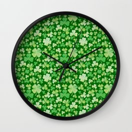 Lucky Green Watercolour Shamrock Pattern Wall Clock