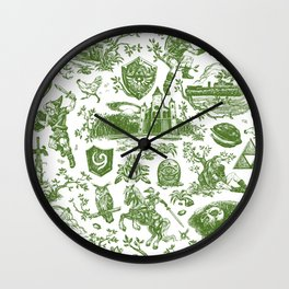 "Zelda ""Hero of Time"" Toile Pattern - Kokiri's Emerald Wall Clock"