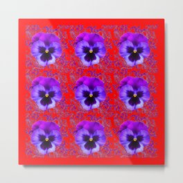 DECORATIVE PURPLE PANSY FLOWERS ON RED COLOR Metal Print