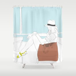 Fashion Travel Girl on the Star Ferry, Hong Kong Shower Curtain