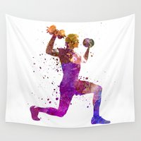 workout Wall Tapestries featuring Man exercising weight training workout fitness by Paulrommer