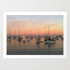 Sunset and Sailboats Art Print