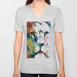 Colorful Lion Art By Sharon Cummings Unisex V-Neck