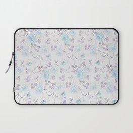 Baby blue purple vintage bohemian roses flowers Laptop Sleeve