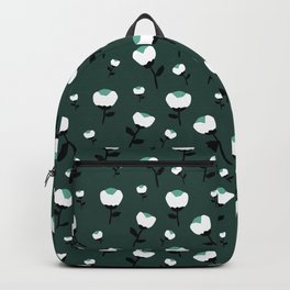 Paper cut cotton boll flowers fall bloom green teal Backpack