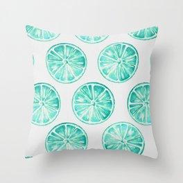 Turquoise Citrus Throw Pillow