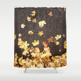 Gold yellow maple leaves autumn asphalt road Shower Curtain