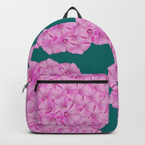 Flowerpower - Pink Flower Balls On A Dark Green Background - #society6 Backpack