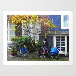 Bicycles and autumn foliage Art Print