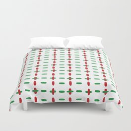 Christmas vector red and green horizontal and vertical stitches aligned on white background seamless Duvet Cover