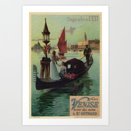 Paris Venice Victorian romantic travel Art Print
