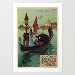 Paris Venice Victorian romantic travel Art Print