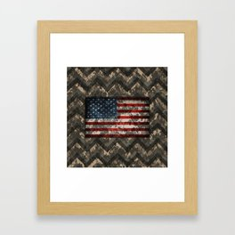 Digital Camo Patriotic Chevrons American Flag Framed Art Print