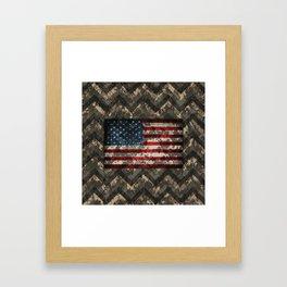 Digital Camo Patriotic Chevrons American Flag Framed Art Print