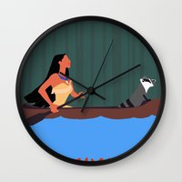 pocahontas Wall Clocks featuring Pocahontas by TheWonderlander