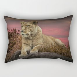 African Female Lion in the Grass at Sunset Rectangular Pillow