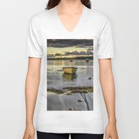 rowing V-neck T-shirts featuring Sheephaven bay by cmphotography