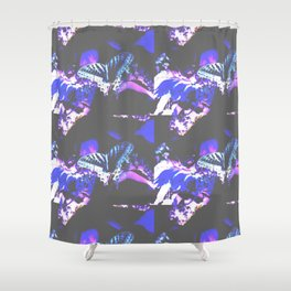 Faded Butterfly Blue Shower Curtain