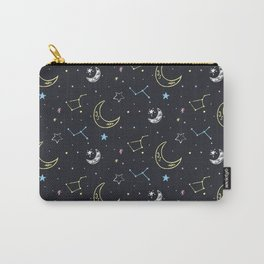 Doodle space with planets, moon, rocket and stars. Carry-All Pouch
