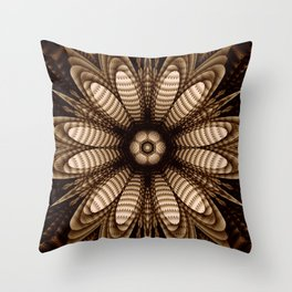 Abstract flower mandala with geometric texture Throw Pillow