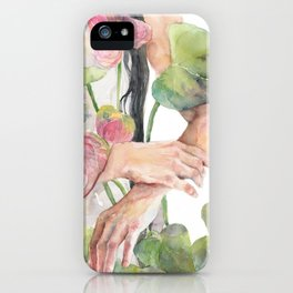 Woman Hugging Watercolor Anthurium, Laceleaf iPhone Case