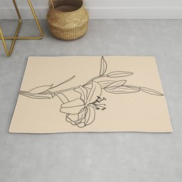 Lily Flower Line Drawing Rug