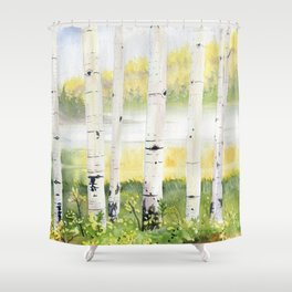 Behind The Birch Trees Shower Curtain