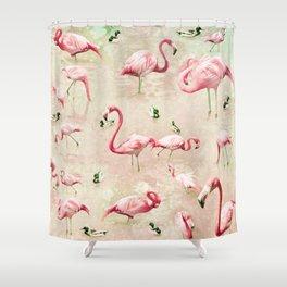 Flamingos Vintage Pink  Shower Curtain