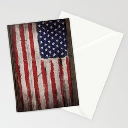 Wood American flag Stationery Cards