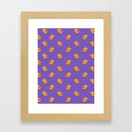 Sunny Family girl hand drawn home decor and textile design kids pattern on violet Framed Art Print