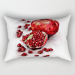 Red pomegranate watercolor art painting Rectangular Pillow